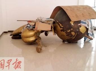 """广西桂平造价40万""""马踏飞燕""""雕塑被拆 只因像""""立马滚蛋""""?"""