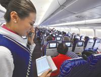 飞机客舱使用手机 目前宣传效果大于功效