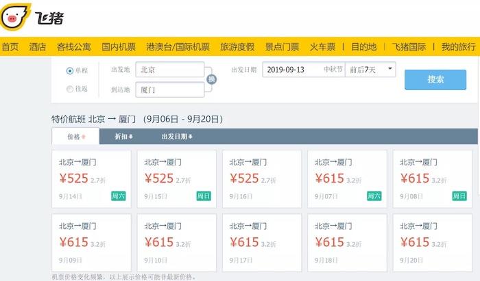 """飞猪中秋数据:多地火车票机票价格""""倒挂"""" 热门车票开售""""秒光"""""""